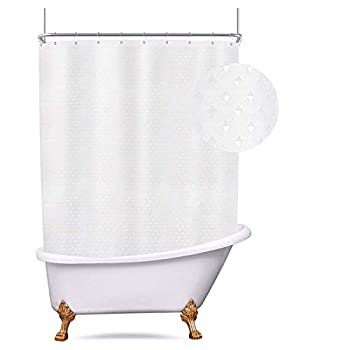 Riyidecor Clawfoot Tub Waffle Shower Curtain 180Wx70H Inch All Wrap Around Extra Wide Shower Curtain Polyester Bathroom Decor Fabric Panel 32-Pack Metal Shower Hooks Without Magnets