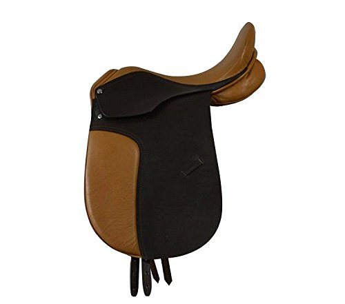 Campale Dressursattel Oxford 17 Zoll Leder Pferdesattel Pferd Dressur Sattel (Kammerweite 15,5 cm)