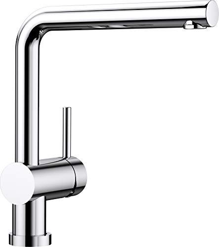 Blanco Linus-F, abnehmbare Küchenarmatur/Vorfensterarmatur, ideal für Platzierung der Spüle vor dem Fenster, Oberfläche chrom, Hochdruck, 1 Stück, 514025