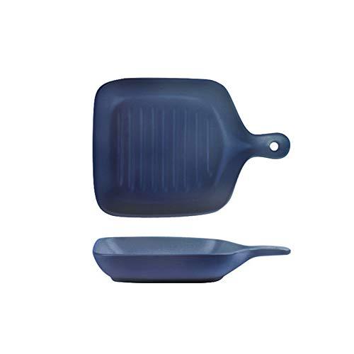 QYLJZB Paquete de 2 platos para hornear, rectangular de cerámica, bandeja para hornear, bandeja para hornear para horno con asa, placa para hornear, utensilios de cocina (azul marino)
