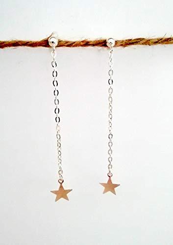 Pendientes largos estrella plata con cadena de aleación plata - dormilón plata con cabezal de bola - Regalo - Para mujer