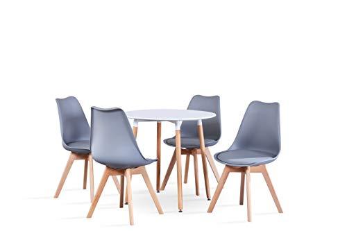 GroBKau Esstisch mit 4 Stühlen, modern, weiß, runder Tisch für Küche, Esszimmer, Kaffee, Freizeit, Tisch, 5 Stück (80 x 80 x 75 cm) Yjx-gy