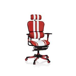 hjh OFFICE 652422 Silla ejecutiva ERGOHUMAN Elite Cuero Rojo/Blanco Silla Gaming Alta Gama inclinable con reposapiés