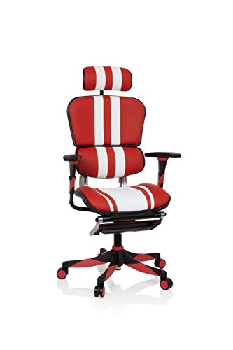 hjh OFFICE 652422 High End Gaming bureaustoel ERGOHUMAN ELITE leder rood/wit executive stoel met voetsteun
