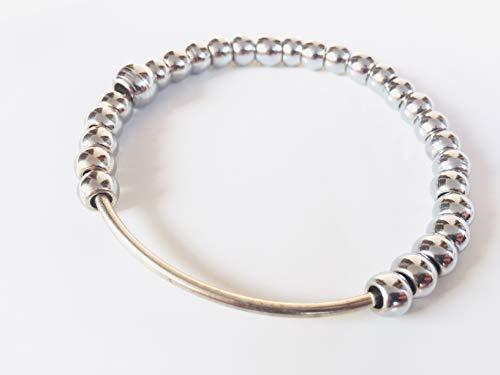 Simran Mala Crystal Stones for Hand Held Meditation stainless steal Sikh Hindu Buddhism Kara, 2.75 Inch - 28 Beads