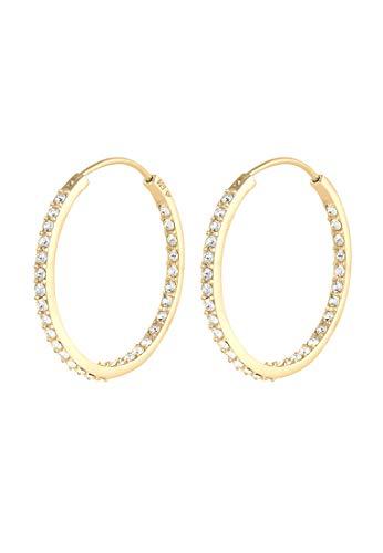 Elli Ohrringe Damen Creolen Funkelnd mit Swarovski® Kristall in 925 Sterling Silber vergoldet