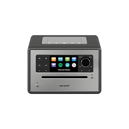 sonoro Elite Internetradio mit CD-Player (UKW/FM/DAB+/WLAN, CD, AUX, Bluetooth, Spotify, Amazon Music, Deezer) Matt Graphit (2020)