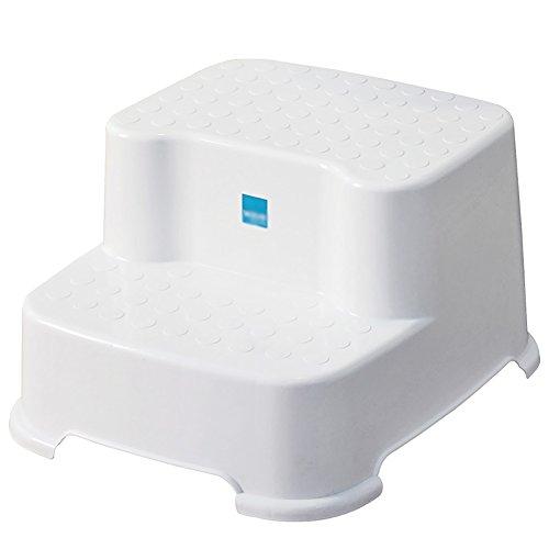 IAIZI witte kindertrapkruk 2 trapladderkruk PP kunststof dikker anti-slip badkruk voetbank kleine bank lage kruk baby wastafel wc-kruk 31 * 34 * 20cm