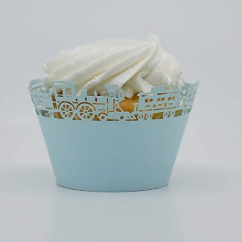 Bakell Baby Blue Train Cupcake Wrapper 25 PC set of Standard Wrappers Liners and Wrappers product image