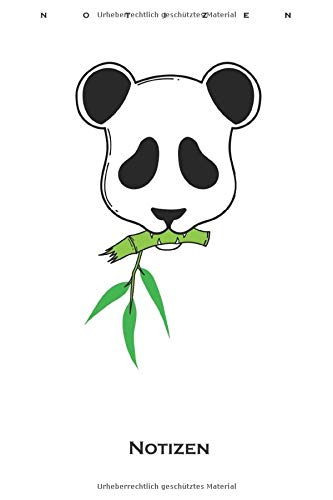 Pandabär mit kleinem Bambus Ast Notizbuch: Punkteraster Notizbuch für Freunde der bambusfressenden Pandabären