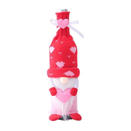 Juego de botellas de muñeca sin rostro para el día de San Valentín, diseño de botella Adolf, botella de vino, día de San Valentín, decoración de fiesta de Navidad (B 1 unidad)
