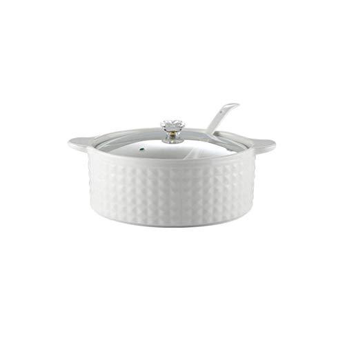 JLWM Zuppiera con 2 Maniglie E Coperchio, 2000ML Zuppiere con Maniglie Cucchiaio in Ceramica Porcellana Forno Microonde Cucina Stile Giapponese Grande per Brodo-Bianco