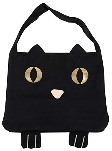Juvale Black Cat Trick or Treat Halloween Tote Bag with Gold Foil Eyes (Cotton Canvas)