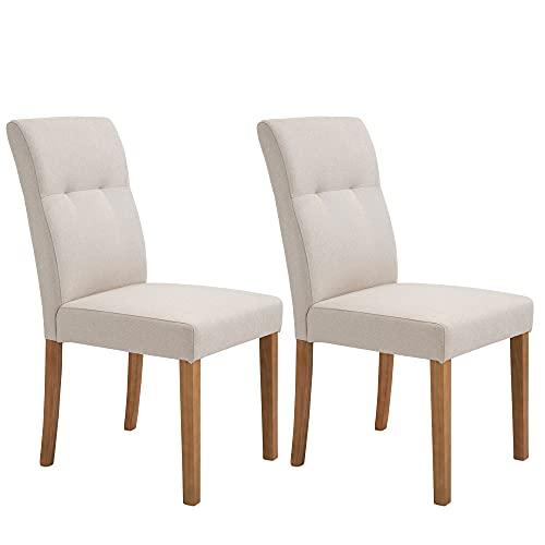 HOMCOM Esszimmerstühle 2er-Set mit gepolstertem Sitz Stuhl Polsterstuhl Leinen-Polyester-Gewebe Schaumstoff Gummiholz Beige 50 x 62 x 96 cm