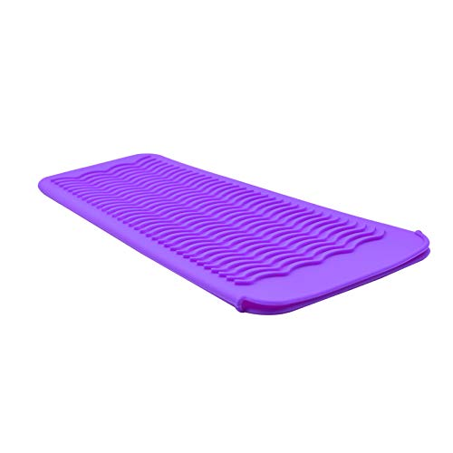 EIOKIT Silicone Heat Resistant Travel Mat Pouch for Hair Straightener,Crimping Iron,Hair Curling Iron,Hair Curling Wand,Flat Iron,Hair Waving Iron and Hot Hair Styling Tools (Purple)