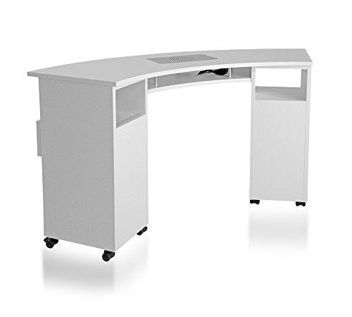 Mesa profesional para manicuras con superficie curva y aspirador de polvo integrado