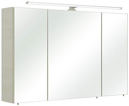 Pelipal - Amora - 110 cm - Spiegelschrank, LED Aufsatzleuchte, Eiche weiß quer NB, EEK: A (Spektrum A++ - A)
