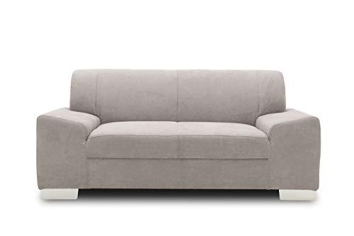 DOMO Collection Alisson Sofa, 2er Couch, 2-Sitzer, 2er Garnitur, 164x83x75 cm, Polstergarnitur in hellgrau