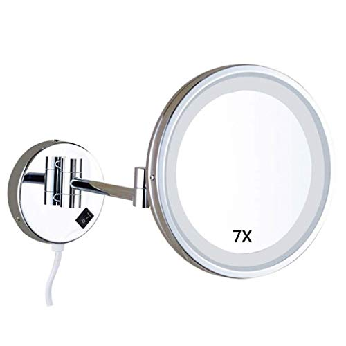 WLABCD Espejo de Pared Espejo Montado en la Pared para Maquillaje de Baño de Tocador de Tocador de Tocador de Tocador Led Ligado X Ampliación .-...