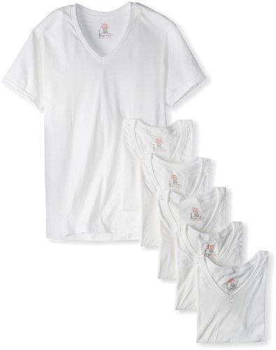 Hanes Ultimate FreshIQ Herren-T-Shirt mit V-Ausschnitt, 6er-Pack - Weiß - Mittel