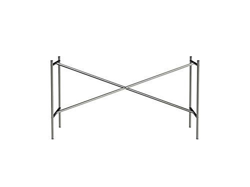 Tischgestell E2, idealer Besprechungstisch (72 x 70 x 135 cm) mit mittiger Kreuzstrebe, Unterbau ohne Tischplatte für Schreibtisch, farblos
