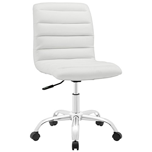 Modway Ripple Ribbed Armless Mid Back Swivel Conference Office Chair In White