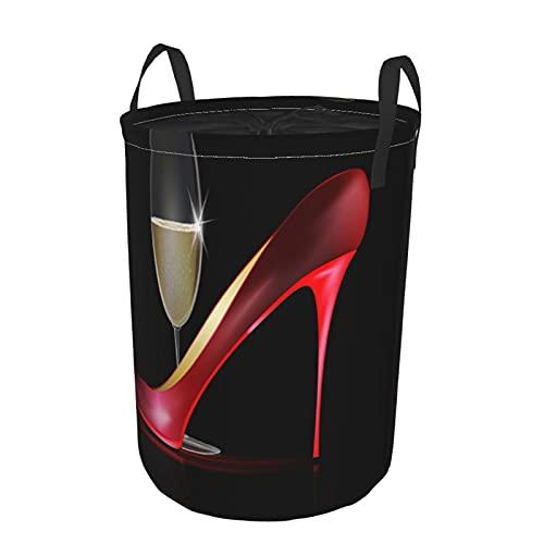 Cesto portabiancheria rotondo,scarpe rosse con tacco alto da donna con bicchiere di vino dorato,cesto portabiancheria pieghevole impermeabile con coulisse 21.6'X16.5'