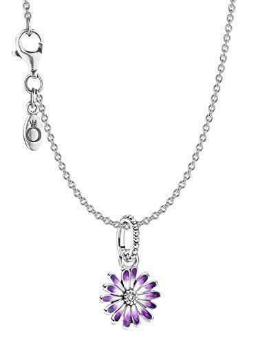 Pandora Collar para mujer de plata 39801, diseño de margaritas moradas