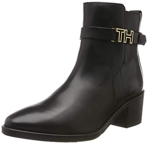 Tommy Hilfiger Damen TH Hardware Leather MID Bootie Stiefeletten, Schwarz (Black 990), 40 EU