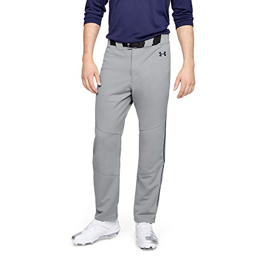 Under Armour Men's Utility Relaxed Piped Baseball Pants, Baseball Gray (082)/Midnight Navy, Large