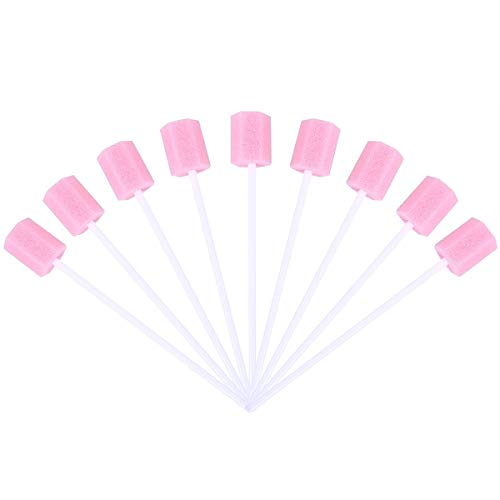 HEALIFTY 100Pcs Oral Cleaning Sponge Dental Care Swab Tooth Cleaning Mouth Swabs (Pink)