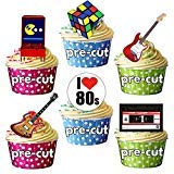 Pack of 12, 24, 36 or 48 Edible 1980s Cup Cake Decorations / Toppers. Precut, so no cutting required!