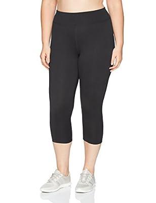 Just My Size Women's Plus Size Active Stretch Capri, Black, 5X