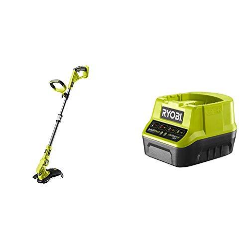 Ryobi OLT1832 18V ONE+ Cordless Grass Trimmer, 25-30cm Path (Zero Tool), 18 V, Hyper Green & RC18120 18V ONE+ Compact Charger