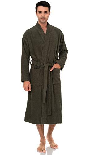 TowelSelections Men's Robe, Turkish Cotton Terry Kimono Bathrobe Large/X-Large Dusty Olive