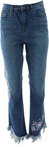 DG2 Diane Gilman Embellished Fringe-Hem Cropped Jean Indigo 12 New 687-736