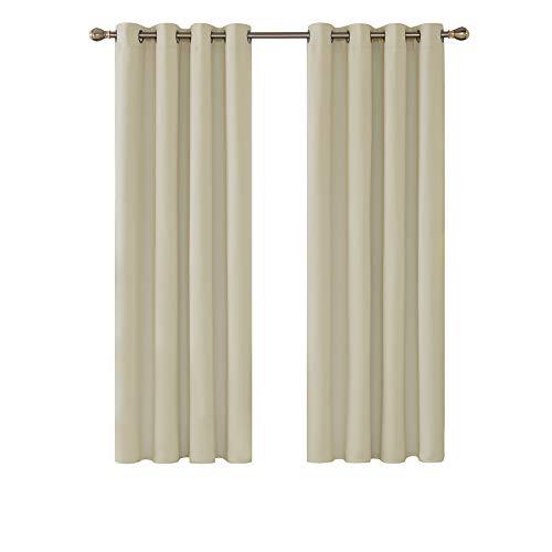 deconovo Cortinas Opacas Salon para Ventana Dormitorio Juveni Habitacion Matrimonio Estilo Moderno Elegante con Ojales 2 Paneles 132 x 160 cm Beige Oscuro