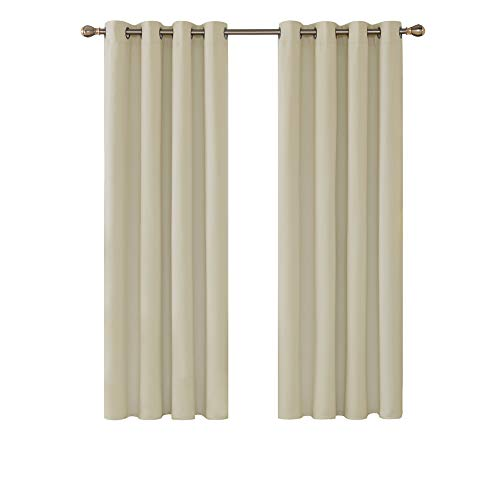 Deconovo Super Soft Bedroom Curtains Blackout Thermal Insulated Eyelet Blackout Curtains for Nursery 46 x 72 Inch Beige 2 Panels
