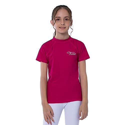 TIZAX Maglietta Nuoto UV a Maniche Corte da Bambina Costume da Bagno per Ragazze Rashguard...