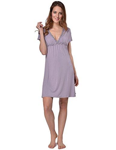 RAIKOU dames korte mouwen bloemen V-hals zomerjurken nachthemd korte jurk blousejurk, zacht en comfortabel