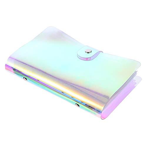 STOBOK 6 - Arco - Anillo transparente portátil con aglutinante bolsillos A6, tamaño recargable, bloc de notas con 12 agujeros, bolsillo para el presupuesto, sobre sistema con botón