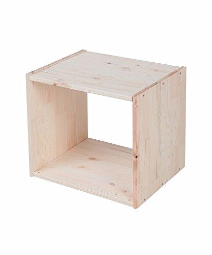 Lenmar Regalwürfel Cube, Grundmodul Fichte Natur, Regalwürfel aus Massivholz, erweiterbar zum Regal, Raumteiler, Bücherregal (1. Stück H: 39 x B: 45,6 x T: 35)