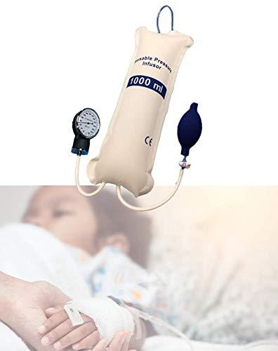 Bolsa de infusion de presion 1000 ml para transfusion de emergencia, manguito de liquidos IV con medidor y bomba, reutilizable