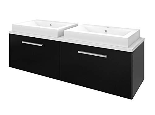 AcquaVapore Waschtisch mit Waschbecken, Badmöbel Set City 200 160cm schwarz