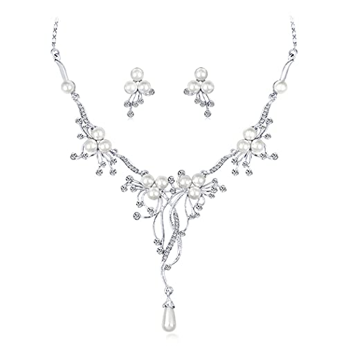 Ushiny Juego de joyas de boda para novia, collar y pendientes de cristal de plata con diamantes de imitación para mujeres y niñas