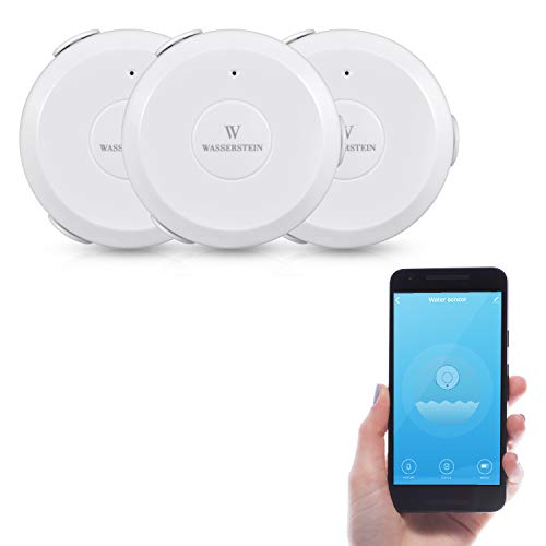 AC Powered Smart Wi-Fi Water Sensor, Flood and Leak Detector with 6ft/1.8m Cable– Alarm and App Notification Alerts, No Expensive Hub Required, Simple Plug & Play by Wasserstein (3 Pack)