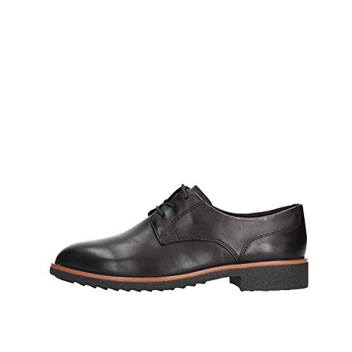 Clarks Griffin Lane, Zapatos de Cordones Derby Mujer, Negro (Black Leather Black Leather), 38 EU