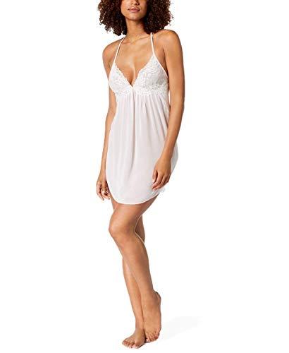 Linea Donatella Womens Juliet Lace-Trimmed Chiffon Chemise (Pale Blush, Medium)