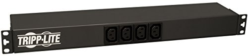 Tripp Lite Basic PDU, 14 Outlets (12 C13, 2 C19), 100-240V, C20 with L6-20P Adapter, 1.6-3.8kW, 12 ft. Cord, 1U Rack-Mount Single-Phase PDU (PDUH20DV),Black