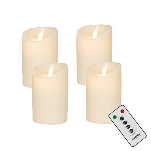 Sompex 4Corona de Adviento Juego Velas LED V14Marfil 12,5cm con Mando a Distancia